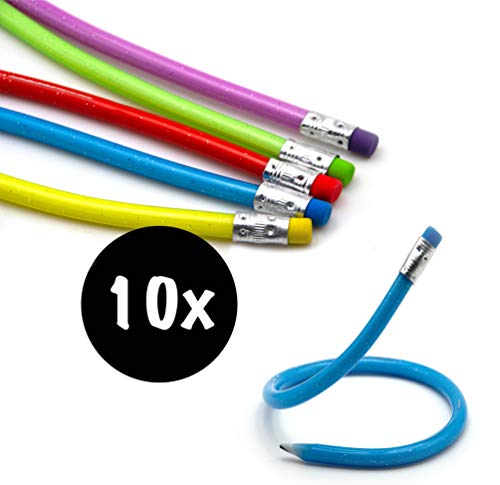10x Biegbare Bleistifte in Premium Qualität | flexible biegsame Bleistifte | bunte Biegebleistifte | ideal für den Kindergeburtstag als Mitgebsel Mitbringsel o. Gastgeschenk für Jungen u. Mädchen