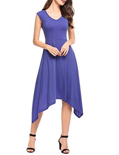 Zeagoo Damen Elegant Cocktailkleid Off Schulter Retro Schwingen Pinup Rockabilly Abendkleid Schwarz Violett XL