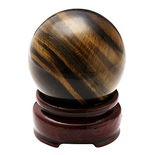 Jovivi 2&Quot;(50Mm) Healing Crystal Natural Tiger Eye Gemstone Ball Divination Sphere Sculpture Figurine With Wood Stand