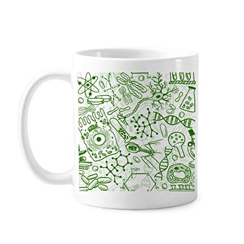 DIYthinker Grüne Mikroskop Zellen Struktur Biological Illustration Klassiker-Becher Weiße Keramik Keramik-Schalen-Geschenk Milch Kaffee mit Griffen 350 ml