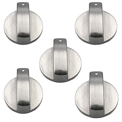 5PCS Metal Gas Stove Knob 6mm Silver Gas Stove ControlKnobs Adaptors Oven Switch Cooking Surface Control Locks