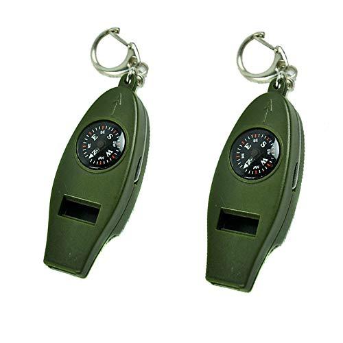 ZMYY Lot de 2 porte-clés pour boussole et sifflet multifonction pour extérieur, alpinisme, orientation et survie, camping, trekking