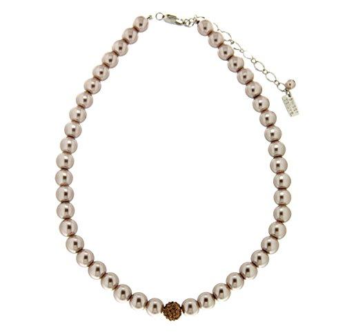 Sweet Deluxe 5958 Damen-Halskette Elegant Pearl Taupe-Topaz, Moderne Kette Gesamtlänge verstellbar, Elegante Kette inkl. Schmuckbeutel, hochwertiger Mode-Schmuck Geburtstagsgeschenk für Damen Perlen