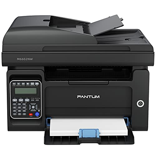 Pantum M6602NW Black and White Laser Wireless Printer, Auto Document Feeder Continuous Copying and Scanning and Fax All-in-one Machine, Wireless Printing, Multi-Person Ethernet NET Sharing Printing