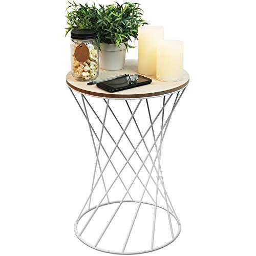 Beistelltisch rund 35xH49cm, weißes Metallgestell mit Holzplatte - Couchtisch Wohnzimmertisch Blumentisch Loungetisch