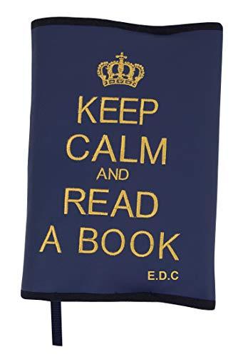 Funda Protectora para Libros y agendas Personalizada con Nombre. Keep Calm and Read a Book (Marino/Dorado)