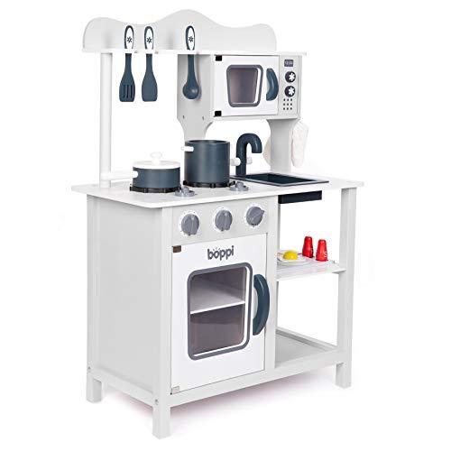 boppi® – Cucina in Legno per Bambini con 19 Accessori - Grigio