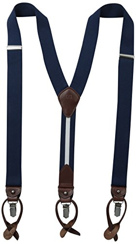 Tommy Hilfiger mens 32mm With Convertible Clip, Button and Strap apparel suspenders, Sky, One Size US