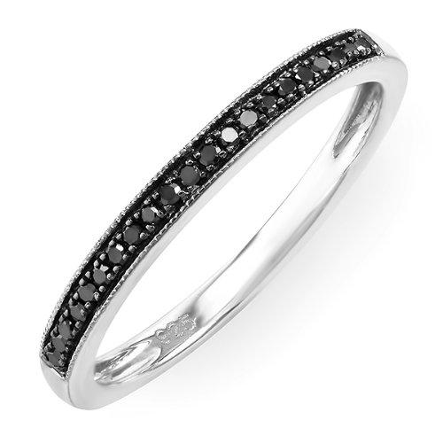 DazzlingRock Anillo de plata de ley con diamantes reales redondos y color negro milgrain apilable (G-H, I1-I2, 0,17 quilates)
