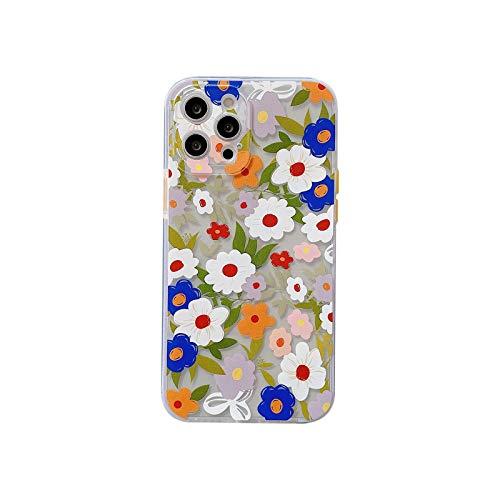 Modische Schutzhülle für iPhone 12 Mini 11 Pro Max 7 8 Plus SE 2020, mit süßem Blumendruck, transparent, Beige