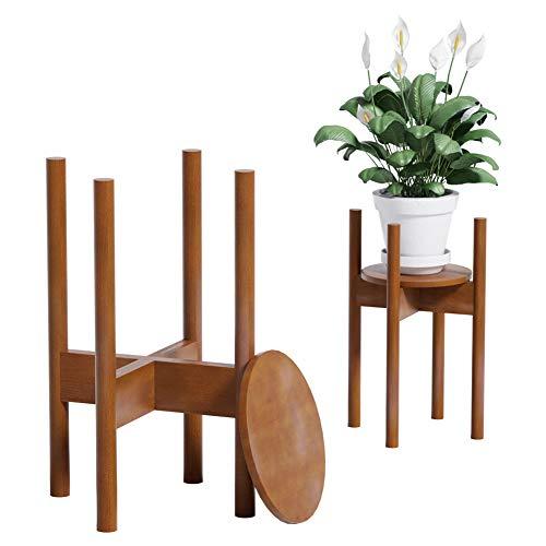 Reservilla Mid Century Wood Soporte ajustable para plantas, moderno soporte para macetas, para interiores y exteriores, 21-30 cm, marrón con plato de 1 unidad.