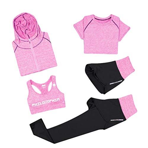 Xinwcang Donna 5 Pezzi Abbigliamento Sportivo Palestra Running Jogging Completi Sportivi Tuta da Ginnastica Traspirante Completo da Allenamento Rosa M
