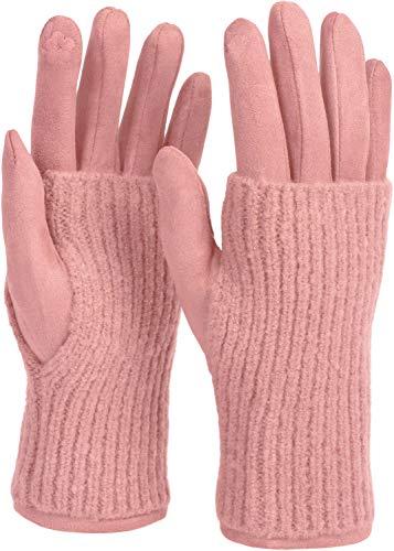 styleBREAKER Damen Touchscreen Stoff Handschuhe mit abnehmbaren Strick Stulpen, warme Fingerhandschuhe, Winter 09010022, Farbe:Rose