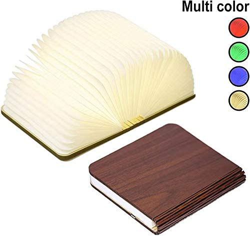 Jtiwoh Wooden Book Lamp,Mini Folding Decorative LED Desk Lamp Wireless Portable USB Rechargeable Bedside Table Room Decor Lamp (Dark Brown)