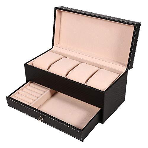 Caja de reloj de doble capa, tenedor de gabinetes de reloj de 4 ranuras con cajón de joyería para almacenamiento y exhibición(Negro)