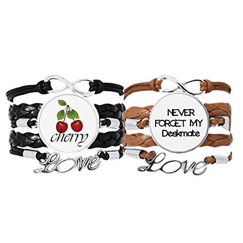Bestchong Never Foget My Deskmate - Pulsera de piel con correa para la mano, diseño de cereza, color marrón