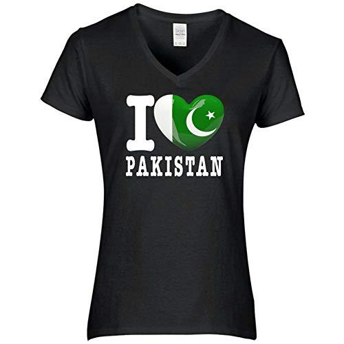 FanShirts4u Damen T-Shirt - I Love Pakistan - WM Trikot Liebe Herz Heart (L, Pakistan/schwarz)