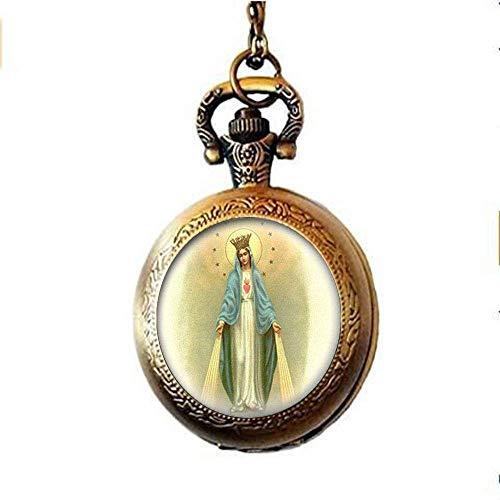 Nuestra Señora de la Medalla Milagrosa Reloj de bolsillo Collar Virgen María Joyería Charm Joyería de Cristal Foto Joyería