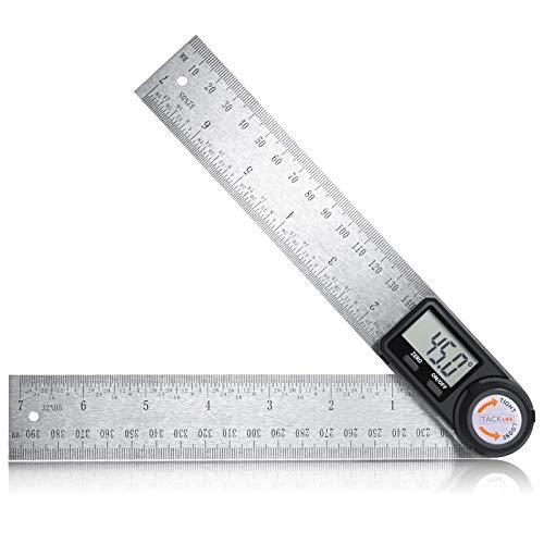 Goniometro Digitale, TACKLIFE Goniometro con Righello 400 mm in Acciaio Inox, Display LCD, Misura l'Angolo 000,0° ~ 999,9°, Misurazione Assoluta e Relativa, Manopola per HOLD - MDA02