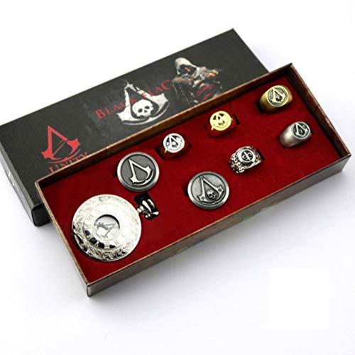 Assassin's Creed Taschenuhr, Connor mit Uhr, Ring 8 Stück