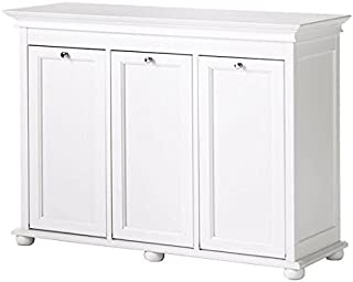Home Decorators Collection Hampton Bay 37 Inch White Triple Tilt Out Bathroom Hamper, 27