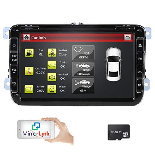 Radio de coche para Volkswagen Golf Passat Jetta Skoda Seat (8 pulgadas, 2 DIN, reproductor de DVD, navegación GPS, radio FM AM, Bluetooth, USB, SD, 7 colores, mando a distancia en el volante
