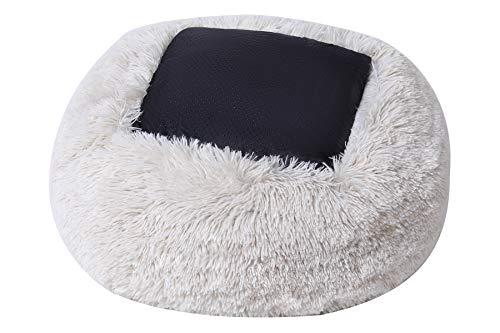 BinetGo Cat Bed Cushion Bed Faux Fur Donut Cuddler Self-Warming, Machine Washable, Waterproof Bottom 18 x 18 x 5.5-Inch (Beige)