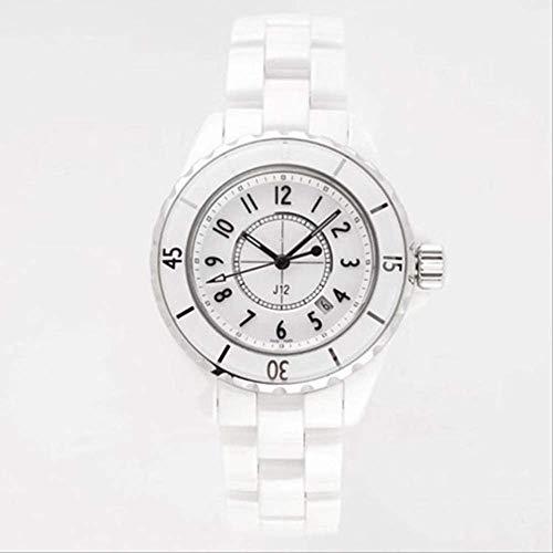 LKYH Klassische Armbanduhr Herren Damen Keramik Quarz Damenuhr Weiß Schwarz Zifferblatt Echtes Ceramica ArmbanduhrHerren 38mm