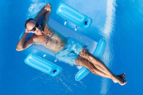 Water Hammock Float with Floating Drink Holder for Inflatable Pool Float Pool Lounger Float Raft, Inflatable Floating Chair Bed Portable for Beach & Outdoor Pool (Light Blue)