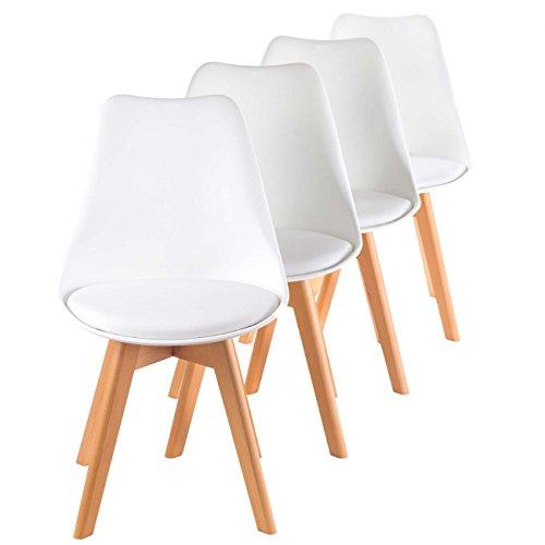 MY SIT Sedia Design Sedia da d'ufficio Mobili Retro Sedia da Pranzo Salotto Mobili Gambe in Legno Sgabello Cucina Stile Scandinavo Set di 4 Sedie Zura in Bianco