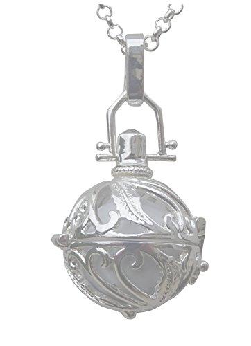 Pendentif Bijou Bola de Grossesse Plaqué Argent Plume Blanc et collier chaîne; Livraison rapide avec suivi.