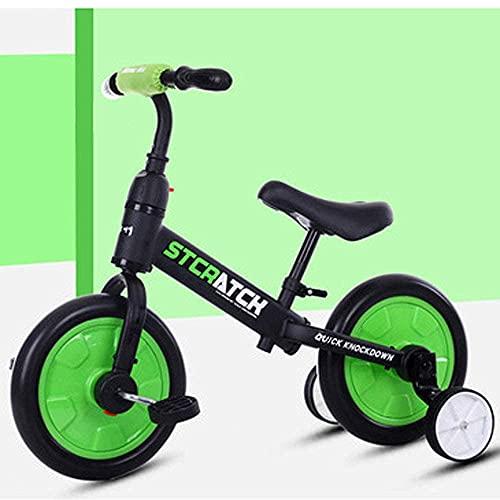 LINZI TRIKES Biciclette per Bambini, tricicli multifunzionali per Bambini, bilanciamento delle Biciclette, autoveicoli, Camminatori, Staccabili, Scooter Non Pedale, Verde