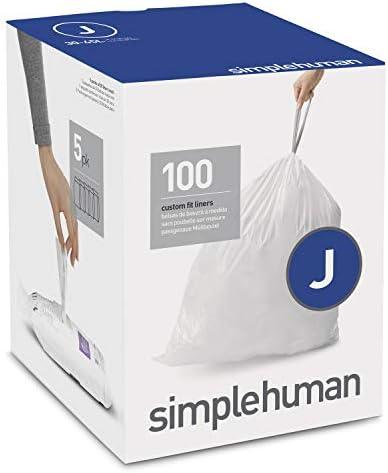 simplehuman Code J Custom Fit Drawstring Trash Bags 30-45 Liter / 8-12 Gallon, 100 Liners, White