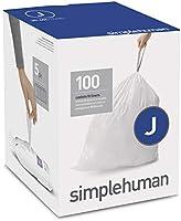 simplehuman Code J Custom Fit Liners, Tall Kitchen Drawstring Trash Bags, 30-45 Liter / 8-12 Gallon, White, 100 Pack, CW0238