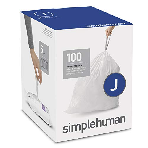 simplehuman Code J Custom Fit Drawstring Trash Bags 30-45 Liter / 8-12 Gallon, 100 Pack, White New Jersey