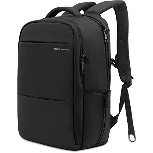 norsens Slim leichter Laptop-Rucksack für 43,2cm schwarz Designer Laptop Rucksäcke für Männer schwarz Black(fits up to 14-18.4in laptop) 18.4in