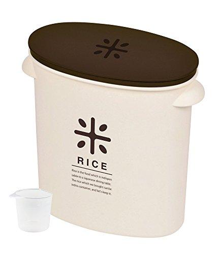パール金属 日本製 米びつ 5kg ブラウン 計量カップ付 お米 袋のまま ストック RICE HB-2168