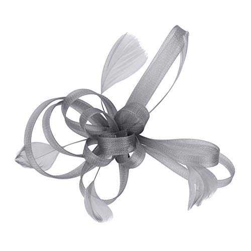 LONTG Elegant Fascinator Feather Hair Pin for Weddings, Cocktails, Parties, Halloween, Carnivals, Hats, Weddings, Brides, Bridesmaids Grey One