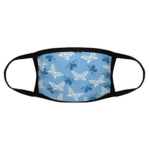 Volwassen Gewone Masker Blauw Patroon Ontwerp Behang kleur4 Een Maat Sport Gezicht Cover Up