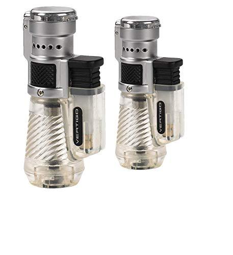 Vertigo by Lotus Cyclone Triple Torch Cigar Lighter Clear 2 Pack