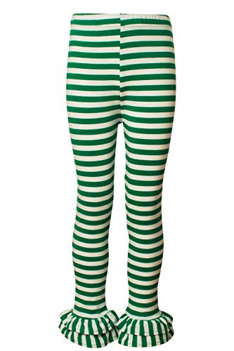 Ipuang Girl's Cotton Ruffle Hem Stripe Leggings Green 8