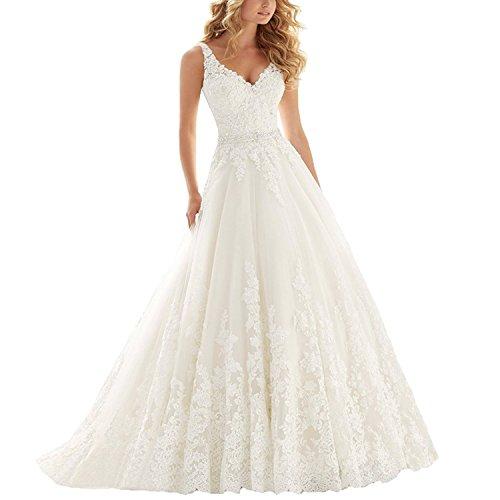 YASIOU Hochzeitskleid Standesamt Damen Lang Weiß Tüll Spitze Glitzer Herzausschnitt Tiefer Rücken mit Schleppe Brautkleid