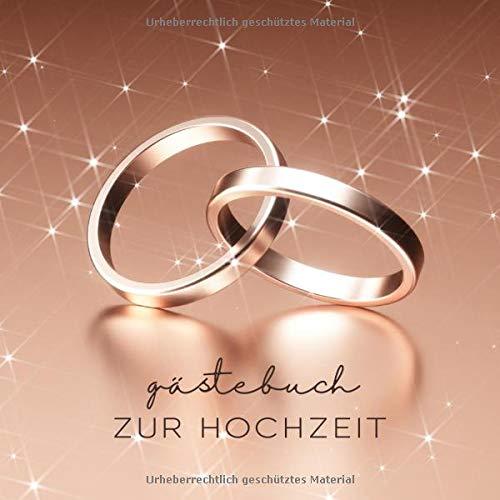 Gästebuch zur Hochzeit: Ringe Rosegold - 110 Seiten