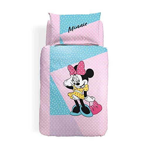 Caleffi Minnie Pink Completo Copripiumino, Cotone, Unica, Singolo