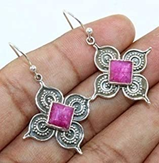 Red Ruby Solid 925 Sterling Silver Clover Shaped Earrings