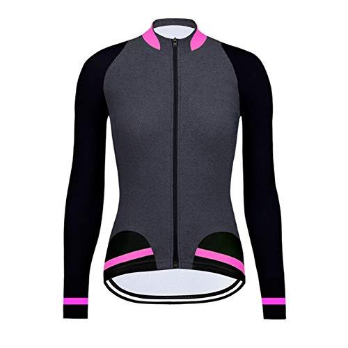 DANGAO Manga Larga Mujer Ciclismo Jersey Primavera otoño Camisa de Bici de otoño MTB Equipo Ropa de Bicicleta Ropa de Carreras (Color : Black Grey Pink, Size : Medium)