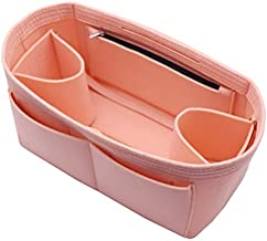 Felt Purse Organizer Insert Bag In Bag with Two Removeable Holder 8020 Pink L