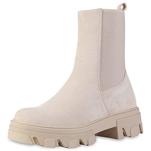 VAN HILL Damen Stiefeletten Lederoptik Plateau Boots Blockabsatz Stiefel Schuhe Profilsohle Booties Plateauschuhe 201119 Nude Velours 37