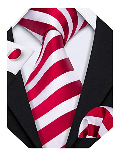 Barry.Wang Red and White Ties Striped Tie Set Wedding Neckties