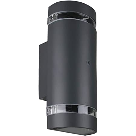 LASIDE Dusk to Dawn Outdoor Wall Lights, Max 35W GU10 Aluminium Up Down Outside Wall Lights, IP44 Waterproof Anthracite Grey Garden Lights for Front Door, Patio, Terrace, Hallway, Porch, Post, Garage